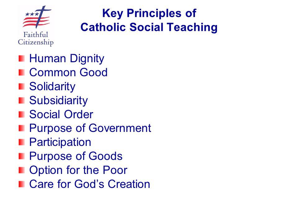 Key Principles of Catholic Social Teaching Human Dignity Common Good Solidarity Subsidiarity Social Order Purpose of Government Participation Purpose