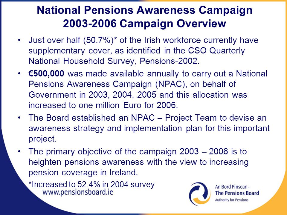 National Pensions Awareness Campaign 2003-2006 Campaign Overview Just over half (50.7%)* of the Irish workforce currently have supplementary cover, as identified in the CSO Quarterly National Household Survey, Pensions-2002.