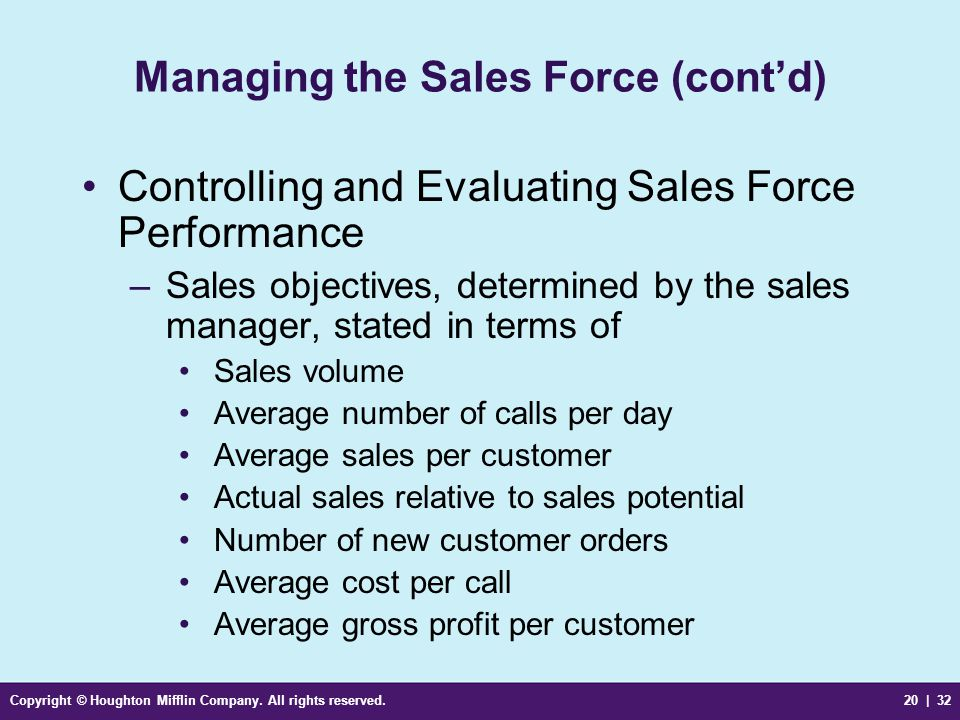 Copyright © Houghton Mifflin Company. All rights reserved.20 | 32 Managing the Sales Force (cont'd) Controlling and Evaluating Sales Force Performance