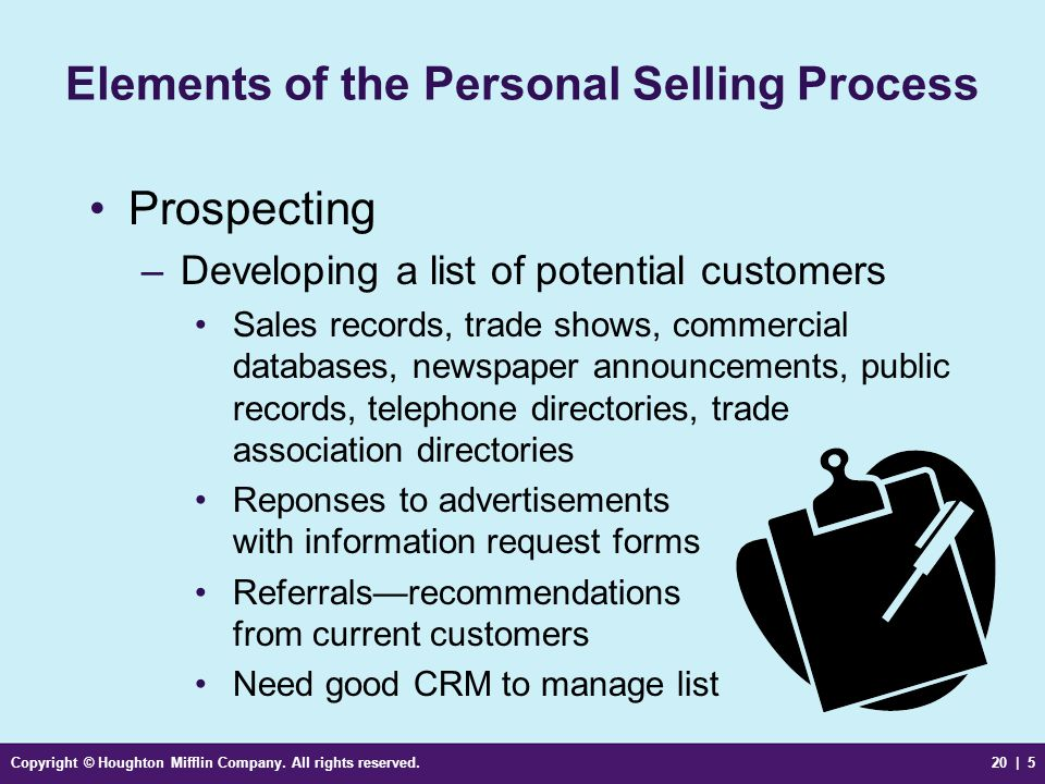 Copyright © Houghton Mifflin Company. All rights reserved.20 | 5 Elements of the Personal Selling Process Prospecting –Developing a list of potential