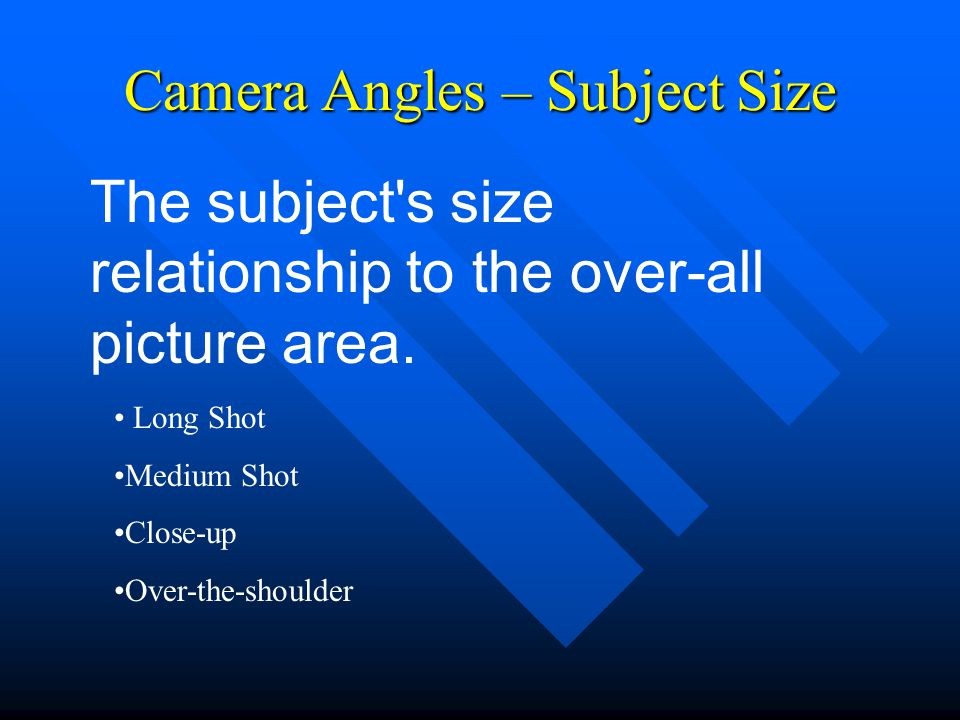 Camera Angles – Subject Size Long Shot Medium Shot Close-up Over-the-shoulder The subject s size relationship to the over-all picture area.