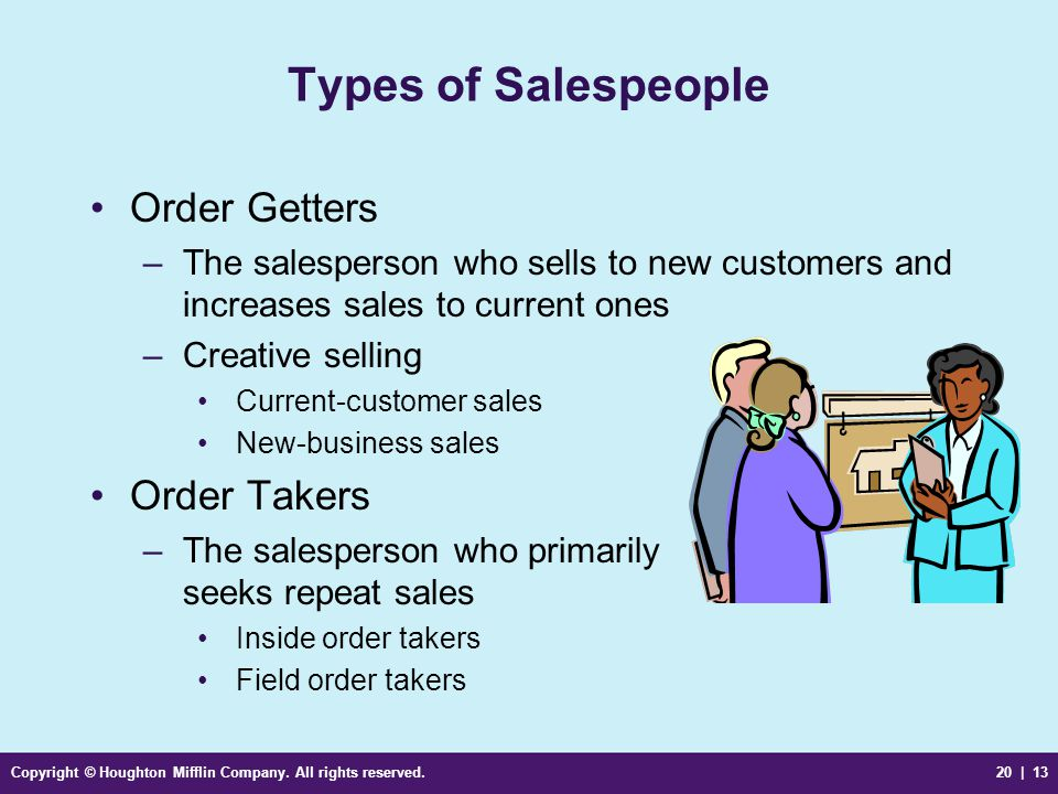 Copyright © Houghton Mifflin Company. All rights reserved.20 | 13 Types of Salespeople Order Getters –The salesperson who sells to new customers and i