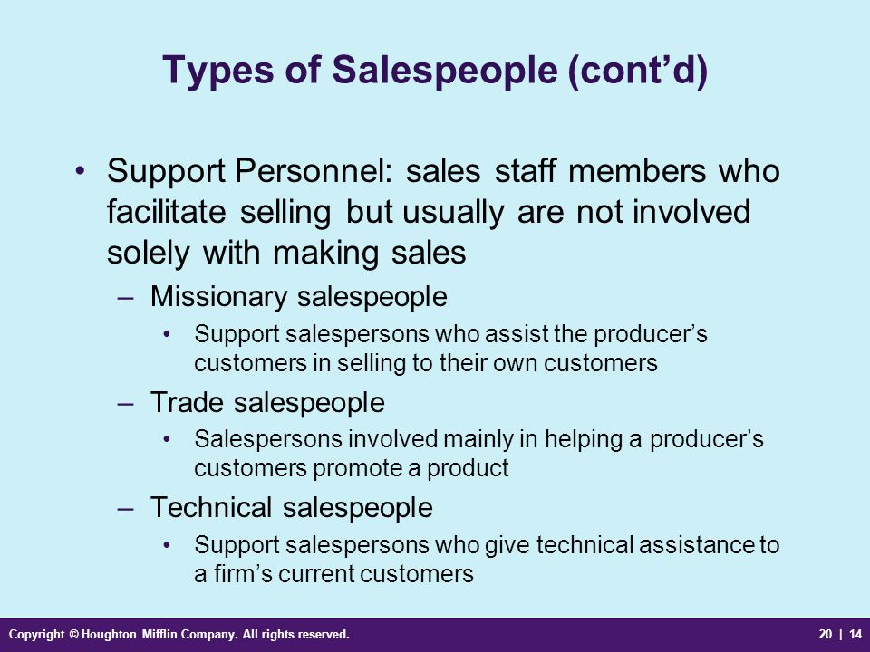 Copyright © Houghton Mifflin Company. All rights reserved.20 | 14 Types of Salespeople (cont'd) Support Personnel: sales staff members who facilitate