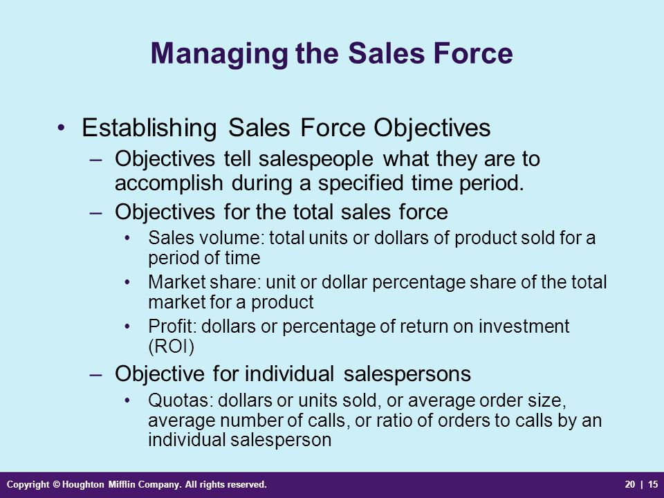 Copyright © Houghton Mifflin Company. All rights reserved.20 | 15 Managing the Sales Force Establishing Sales Force Objectives –Objectives tell salesp