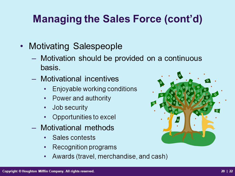 Copyright © Houghton Mifflin Company. All rights reserved.20 | 22 Managing the Sales Force (cont'd) Motivating Salespeople –Motivation should be provi