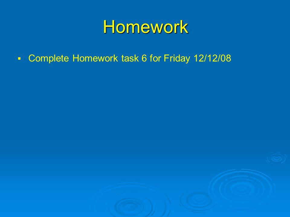 Homework   Complete Homework task 6 for Friday 12/12/08