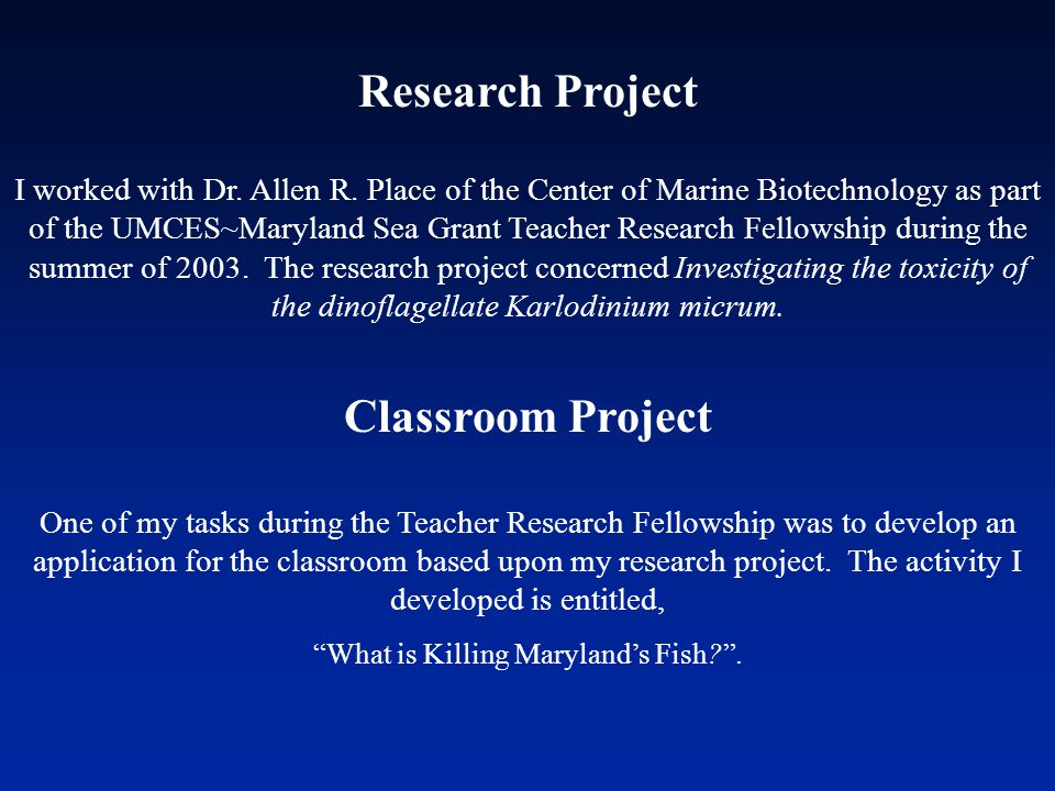 Research Project I worked with Dr. Allen R.