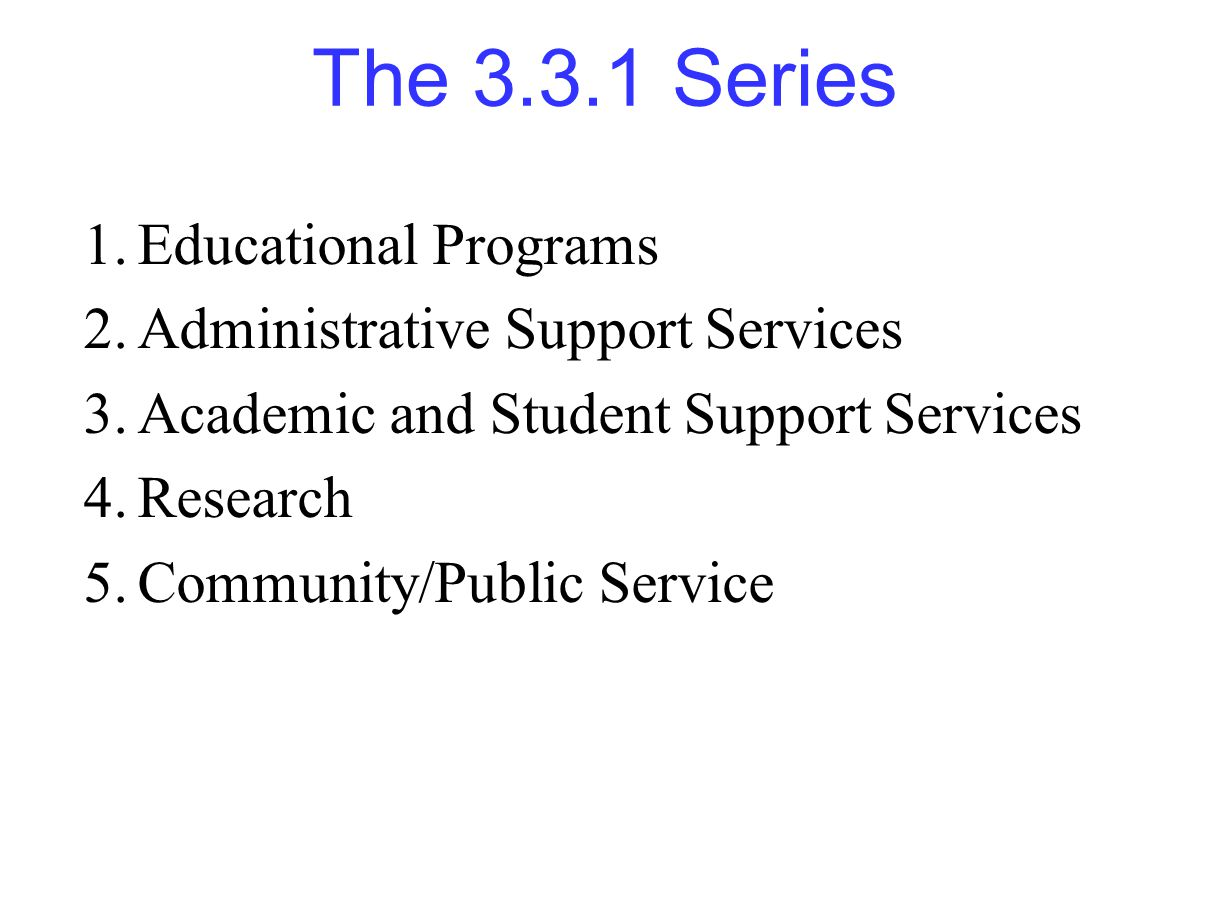 The 3.3.1 Series 1.Educational Programs 2.Administrative Support Services 3.Academic and Student Support Services 4.Research 5.Community/Public Service