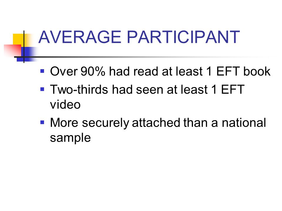 AVERAGE PARTICIPANT  47 years old  Caucasian woman  Partnered  In practice almost 13 years  MFT  Integrative orientation