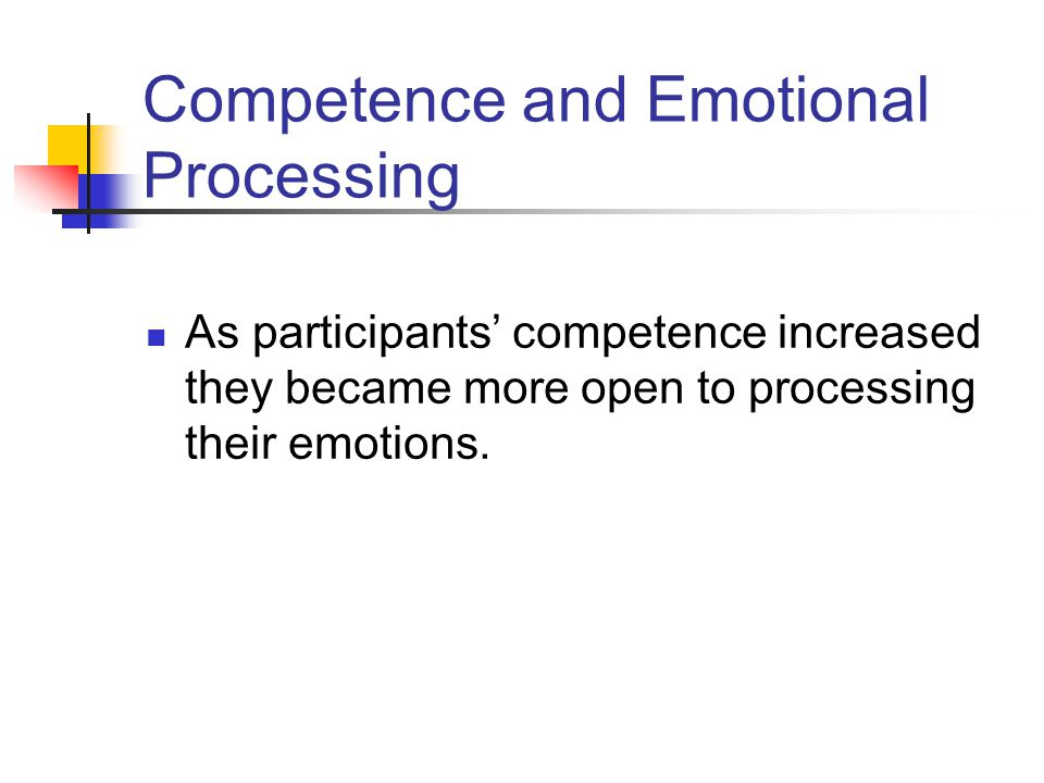 Emotional Processing Participants entered the training with moderately high levels on emotional processing with participant's average score being 3.9 on a 5 point scale at pretest.