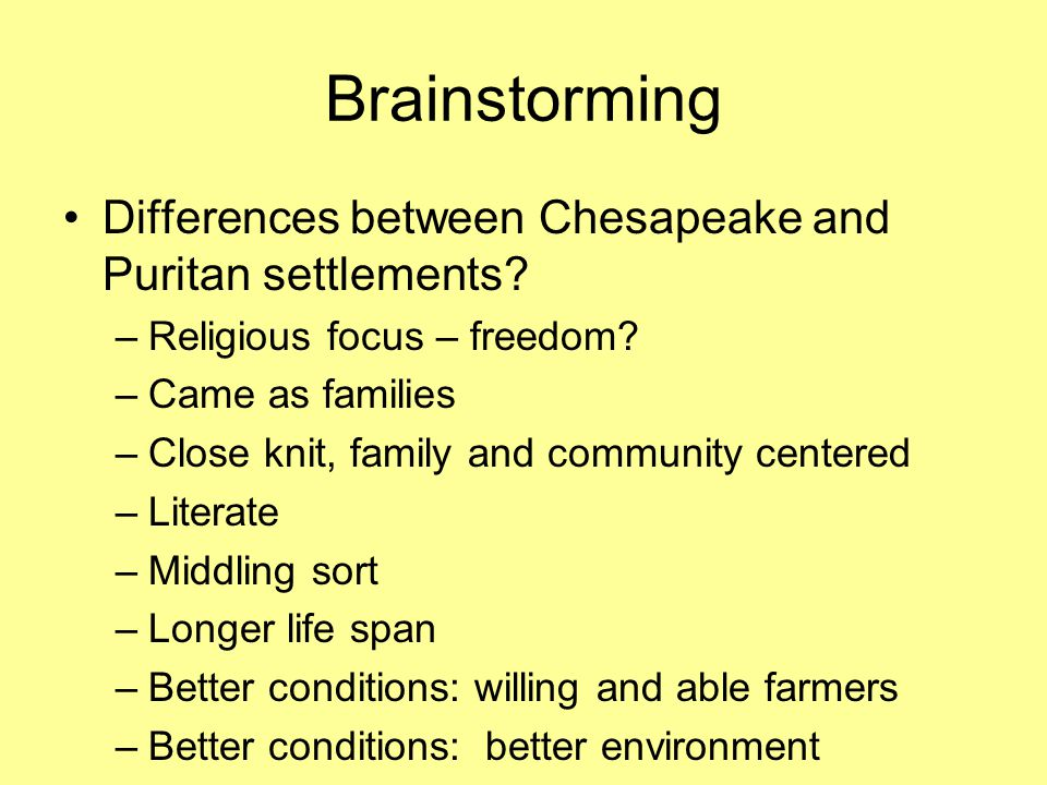 Differences between Chesapeake and Puritan settlements.