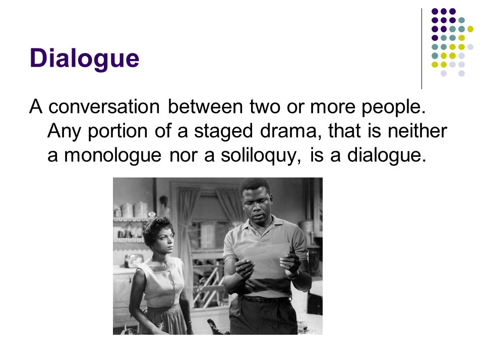 Dialogue A conversation between two or more people. Any portion of a staged drama, that is neither a monologue nor a soliloquy, is a dialogue.