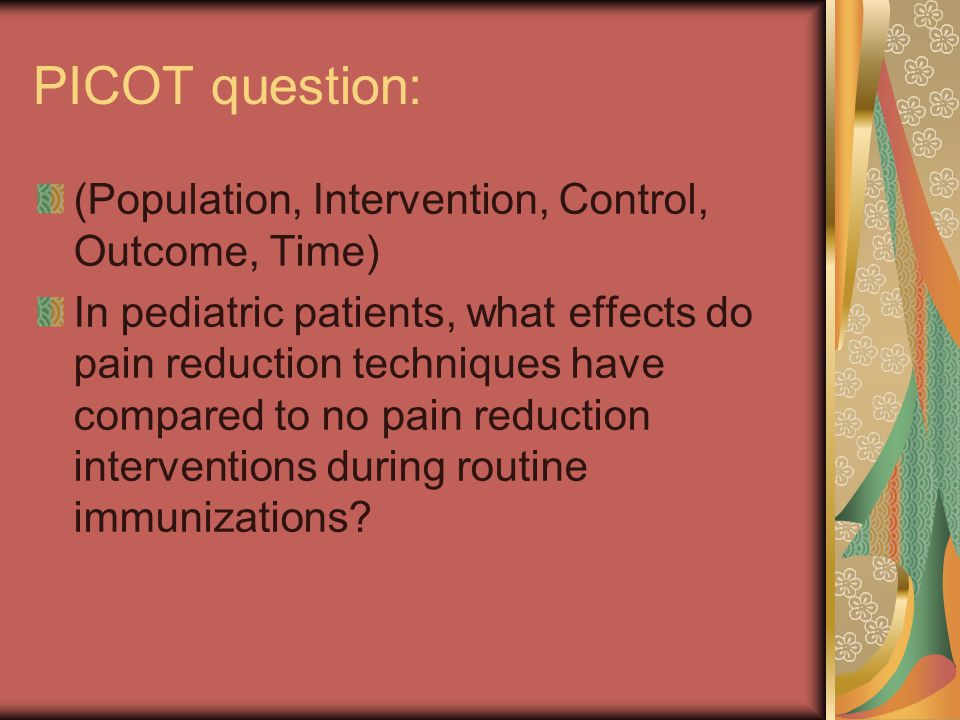 Before the injections Preparation for Immunization Studies have shown that preparation for procedural pain can reduce the anxiety and pain of many medical events, such as Venipuncture Dental procedures Surgery VCUG However, there are few studies that look at preparation for immunizations.