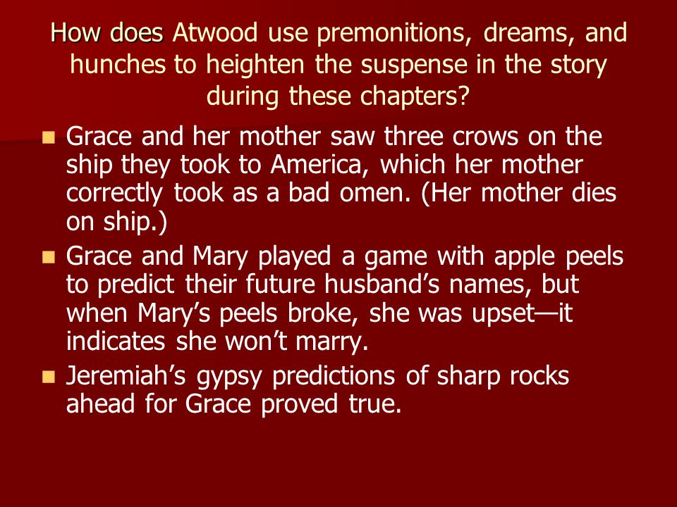 How does How does Atwood use premonitions, dreams, and hunches to heighten the suspense in the story during these chapters.