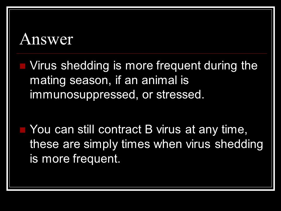 Answer Virus shedding is more frequent during the mating season, if an animal is immunosuppressed, or stressed. You can still contract B virus at any