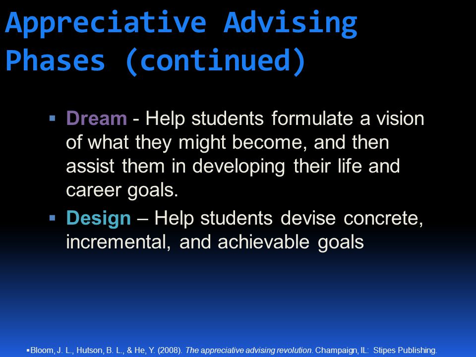 Appreciative Advising Phases (continued) DDream - Help students formulate a vision of what they might become, and then assist them in developing their life and career goals.
