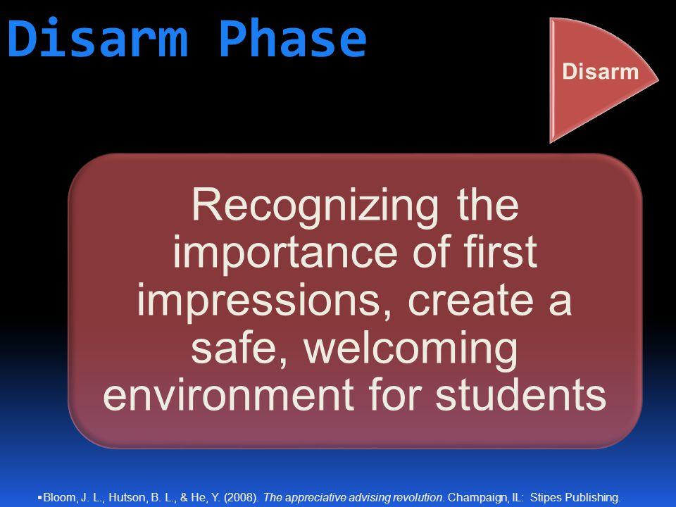 Disarm Phase Recognizing the importance of first impressions, create a safe, welcoming environment for students Disarm  Bloom, J.
