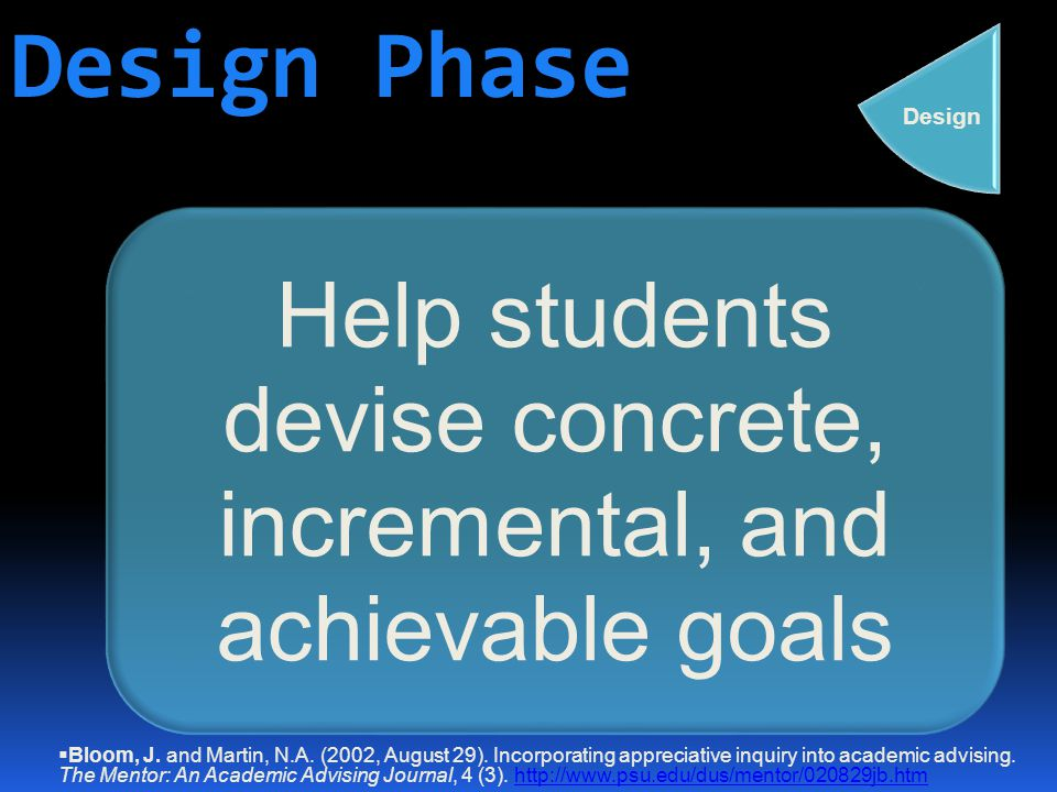 Design Phase Help students devise concrete, incremental, and achievable goals  Bloom, J.