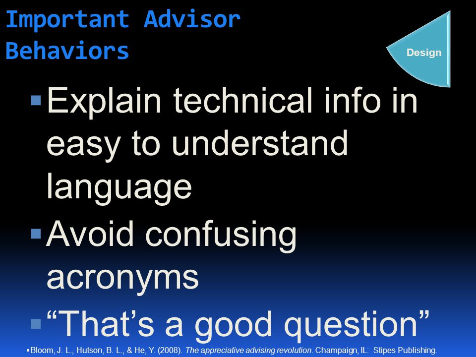 Important Advisor Behaviors  Explain technical info in easy to understand language  Avoid confusing acronyms  That's a good question Design  Bloom, J.