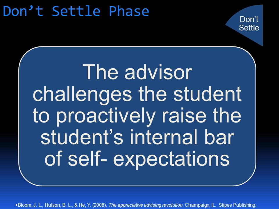 Don't Settle Phase The advisor challenges the student to proactively raise the student's internal bar of self- expectations Don't Settle  Bloom, J.