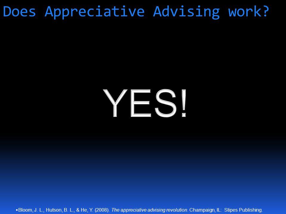 Does Appreciative Advising work.  Bloom, J. L., Hutson, B.