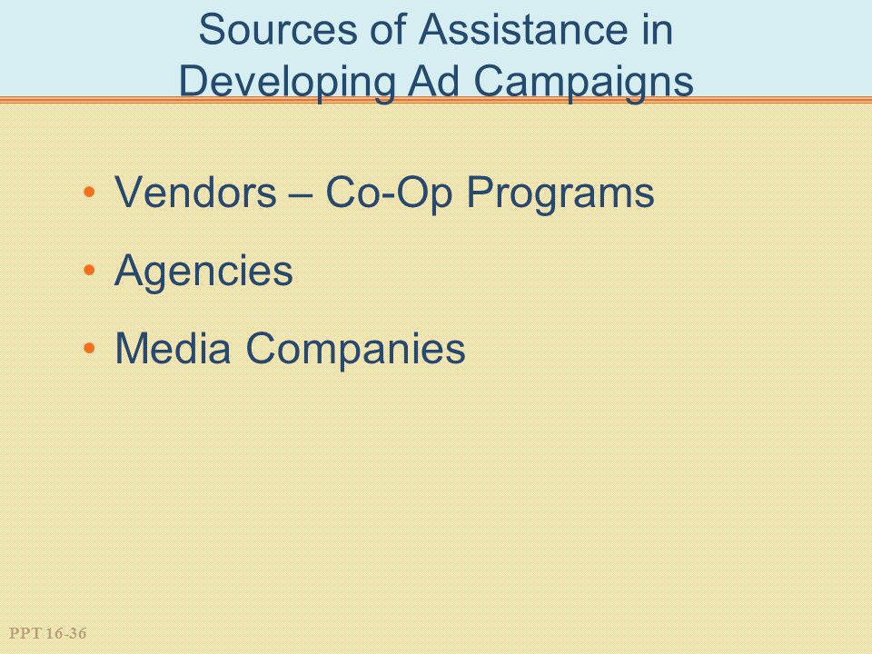 PPT 16-36 Sources of Assistance in Developing Ad Campaigns Vendors – Co-Op Programs Agencies Media Companies