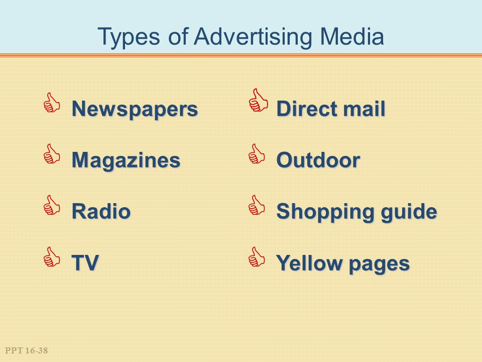 PPT 16-38 Types of Advertising Media Newspapers  Newspapers Magazines  Magazines Radio  Radio TV  TV Direct mail  Direct mail Outdoor  Outdoor Shopping guide  Shopping guide Yellow pages  Yellow pages