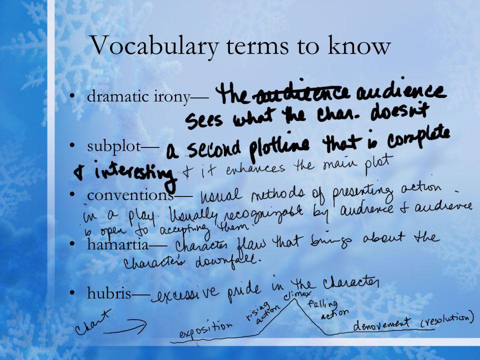 Vocabulary terms to know dramatic irony— subplot— conventions— hamartia— hubris—