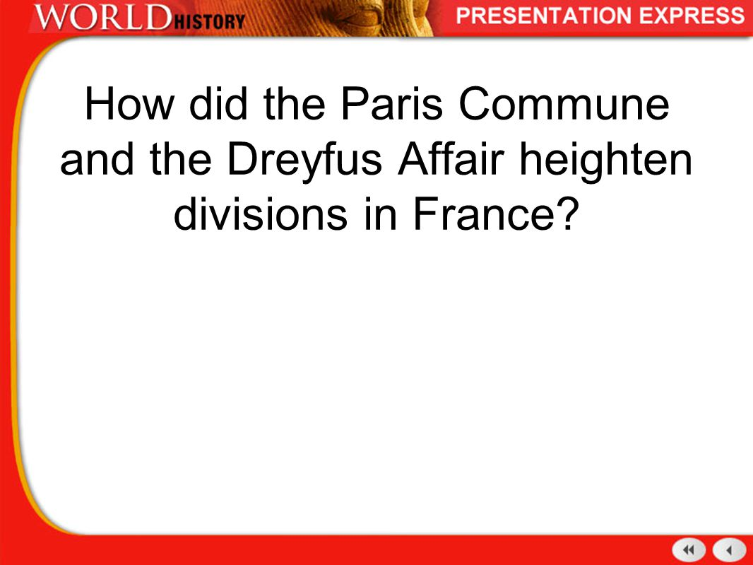 How did the Paris Commune and the Dreyfus Affair heighten divisions in France?