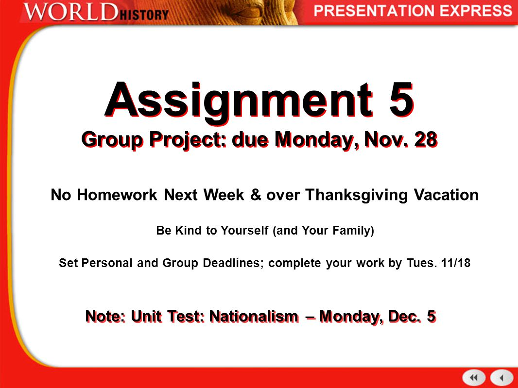 Assignment 5 Group Project: due Monday, Nov.