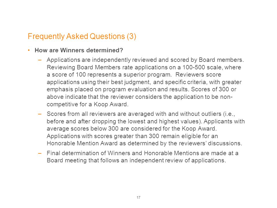 Frequently Asked Questions (3) How are Winners determined.