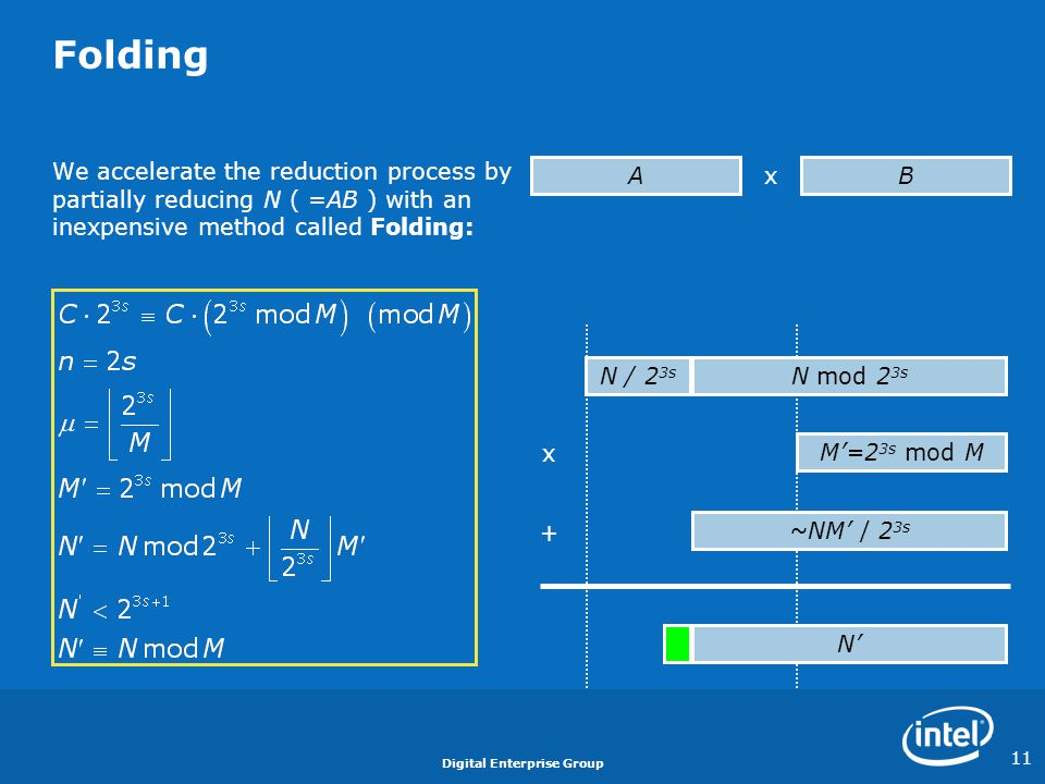 Digital Enterprise Group 11 Folding We accelerate the reduction process by partially reducing N ( =AB ) with an inexpensive method called Folding: B x