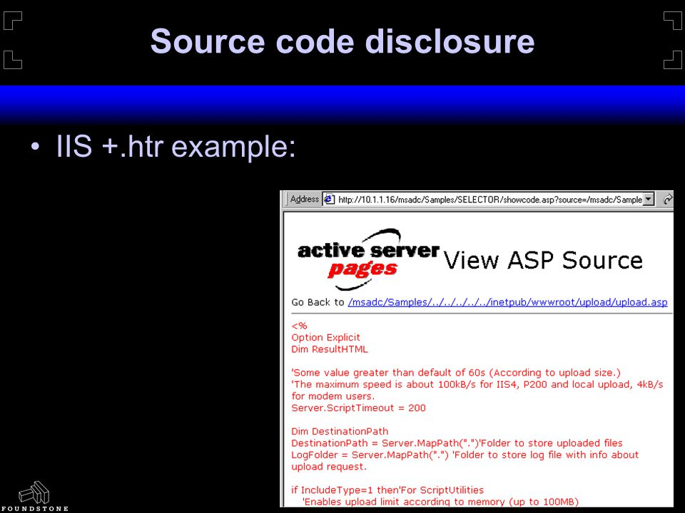 Source code disclosure IIS +.htr example:
