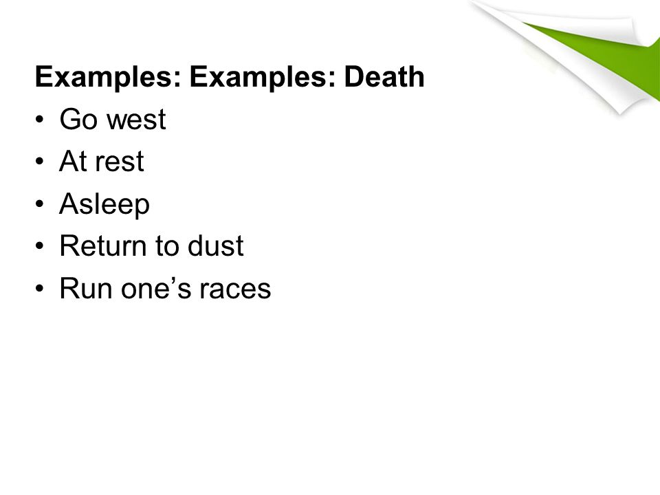 Examples: Examples: Death Go west At rest Asleep Return to dust Run one's races