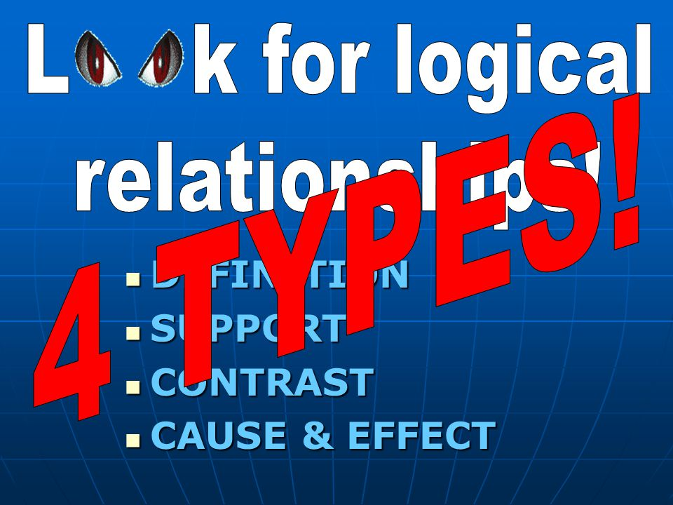 DEFINITION DEFINITION SUPPORT SUPPORT CONTRAST CONTRAST CAUSE & EFFECT CAUSE & EFFECT