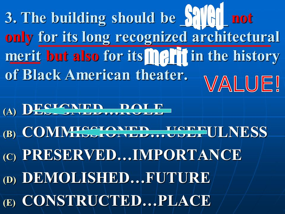 3. The building should be ______ not only for its long recognized architectural merit but also for its _____ in the history of Black American theater.