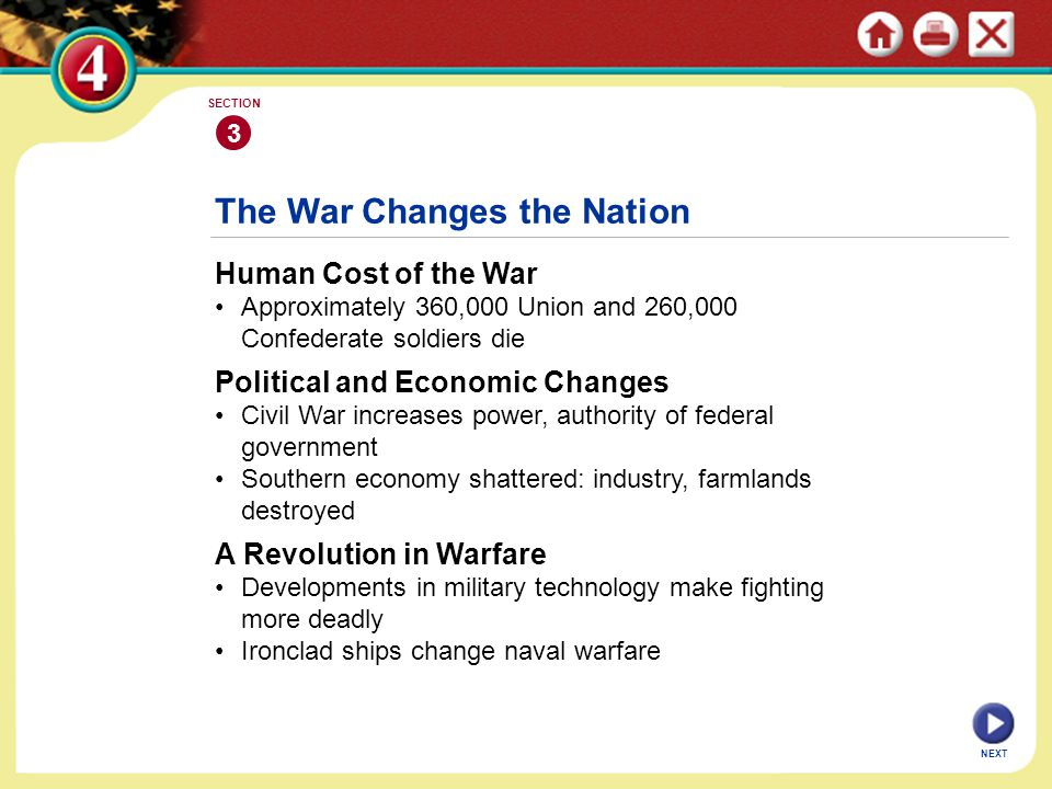 NEXT 3 SECTION Human Cost of the War Approximately 360,000 Union and 260,000 Confederate soldiers die The War Changes the Nation Political and Economi