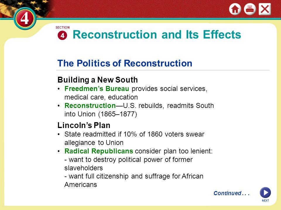 NEXT The Politics of Reconstruction Building a New South Freedmen's Bureau provides social services, medical care, education Reconstruction—U.S. rebui