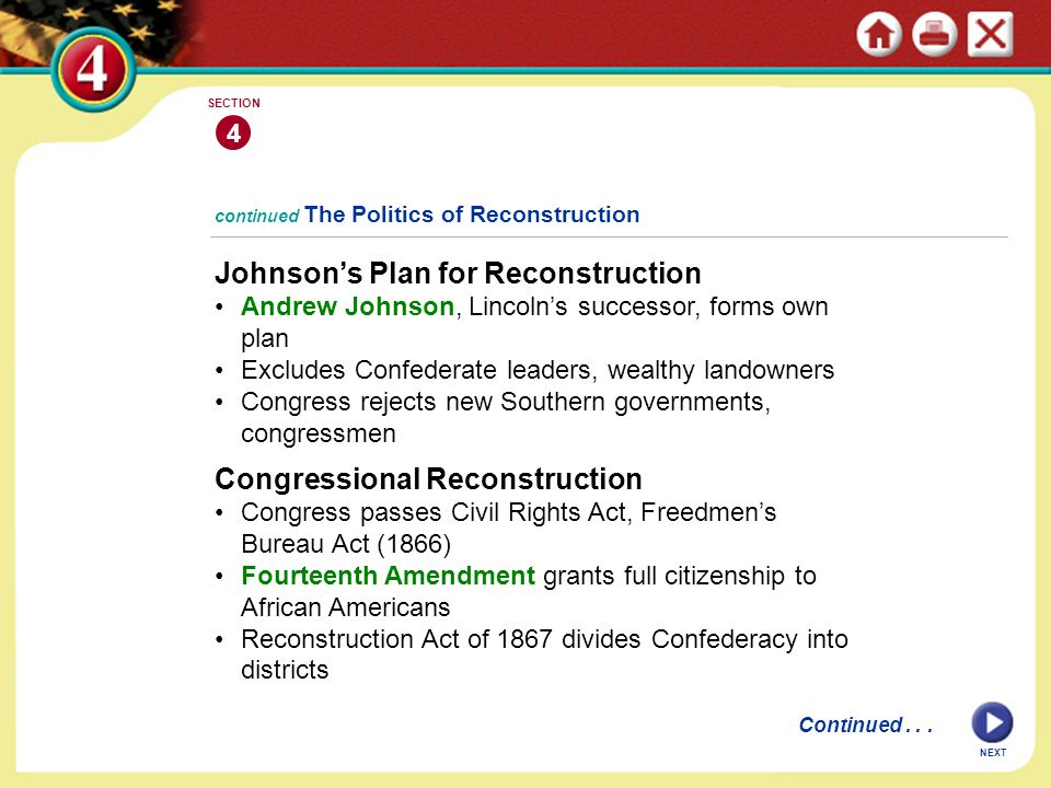 NEXT 4 SECTION Johnson's Plan for Reconstruction Andrew Johnson, Lincoln's successor, forms own plan Excludes Confederate leaders, wealthy landowners