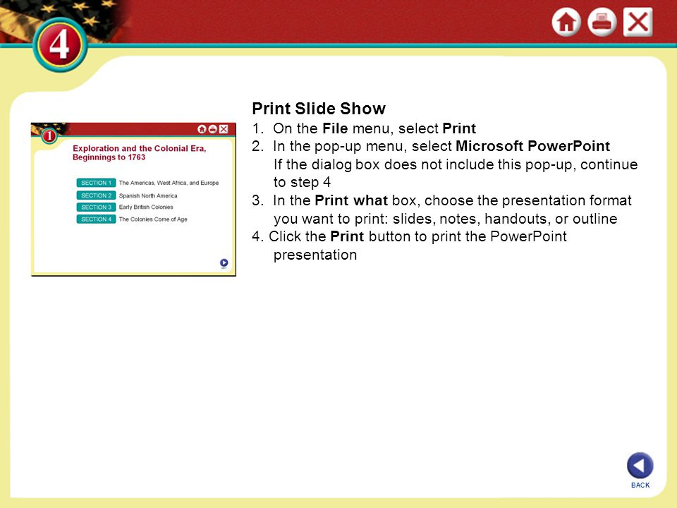 Print Slide Show 1. On the File menu, select Print 2. In the pop-up menu, select Microsoft PowerPoint If the dialog box does not include this pop-up,