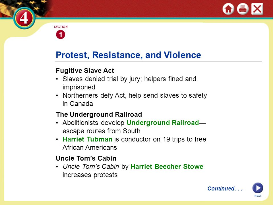Protest, Resistance, and Violence Fugitive Slave Act Slaves denied trial by jury; helpers fined and imprisoned Northerners defy Act, help send slaves