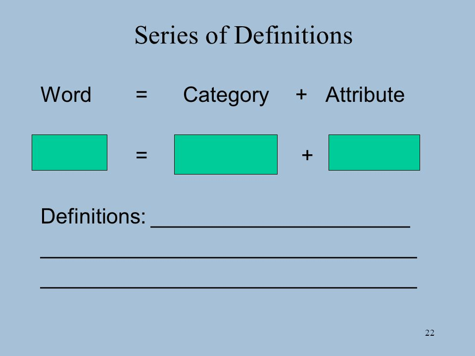 22 Series of Definitions Word=Category +Attribute = + Definitions: ______________________ ________________________________