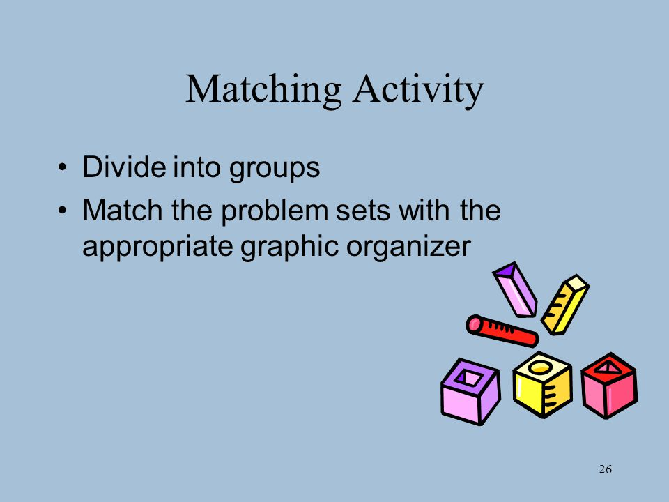 26 Matching Activity Divide into groups Match the problem sets with the appropriate graphic organizer