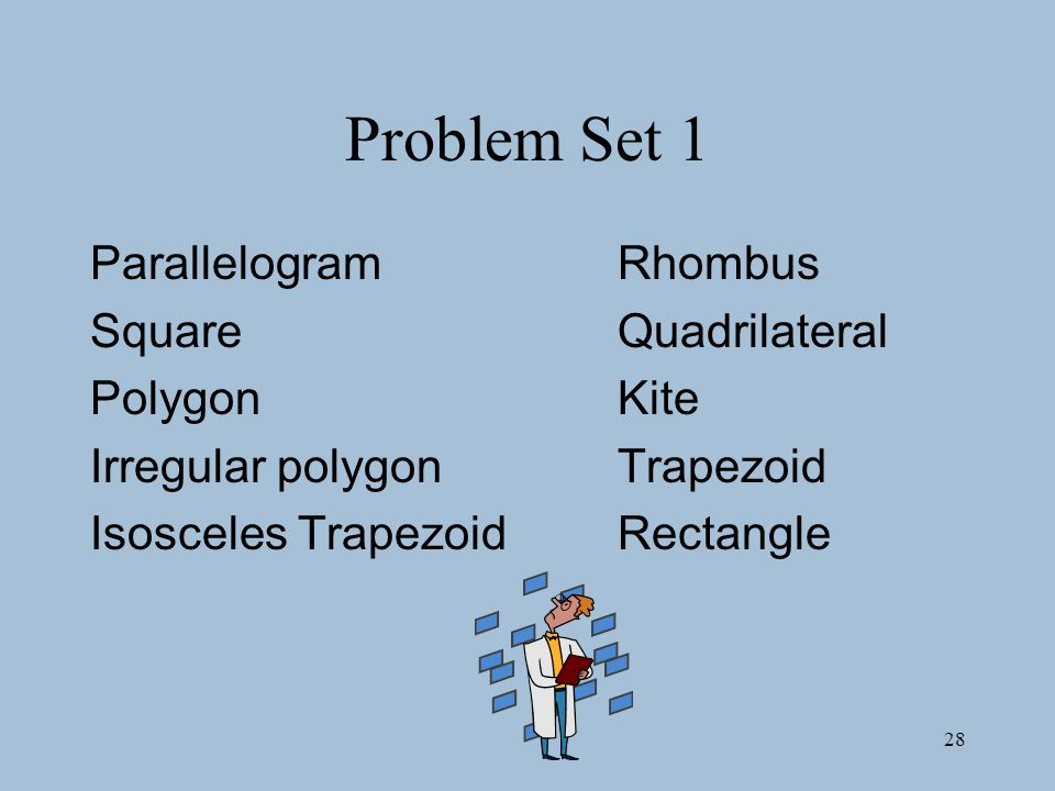 28 Problem Set 1 ParallelogramRhombus SquareQuadrilateral PolygonKite Irregular polygonTrapezoid Isosceles TrapezoidRectangle