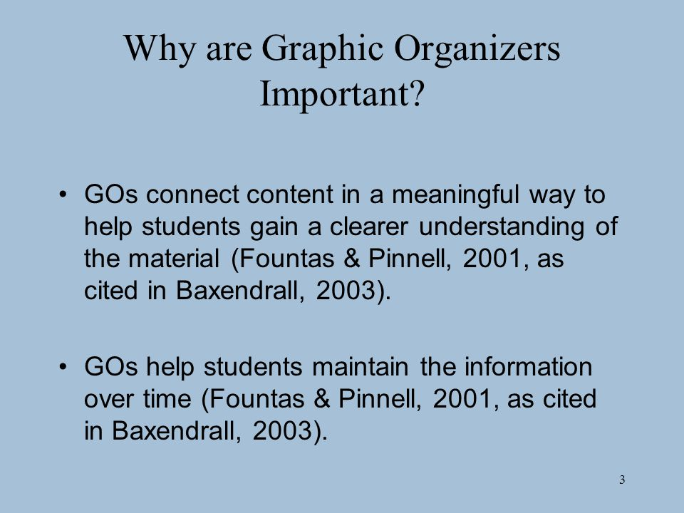 3 Why are Graphic Organizers Important.