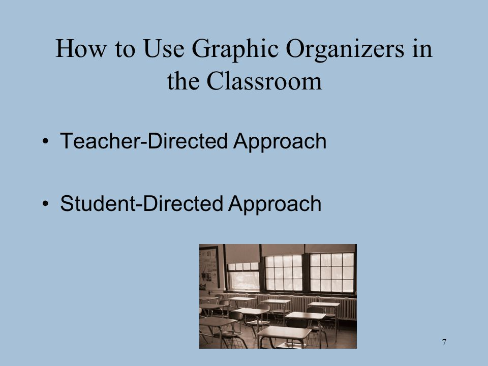 7 How to Use Graphic Organizers in the Classroom Teacher-Directed Approach Student-Directed Approach