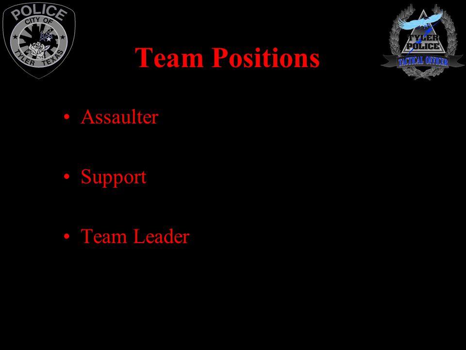 Team Positions Assaulter Support Team Leader