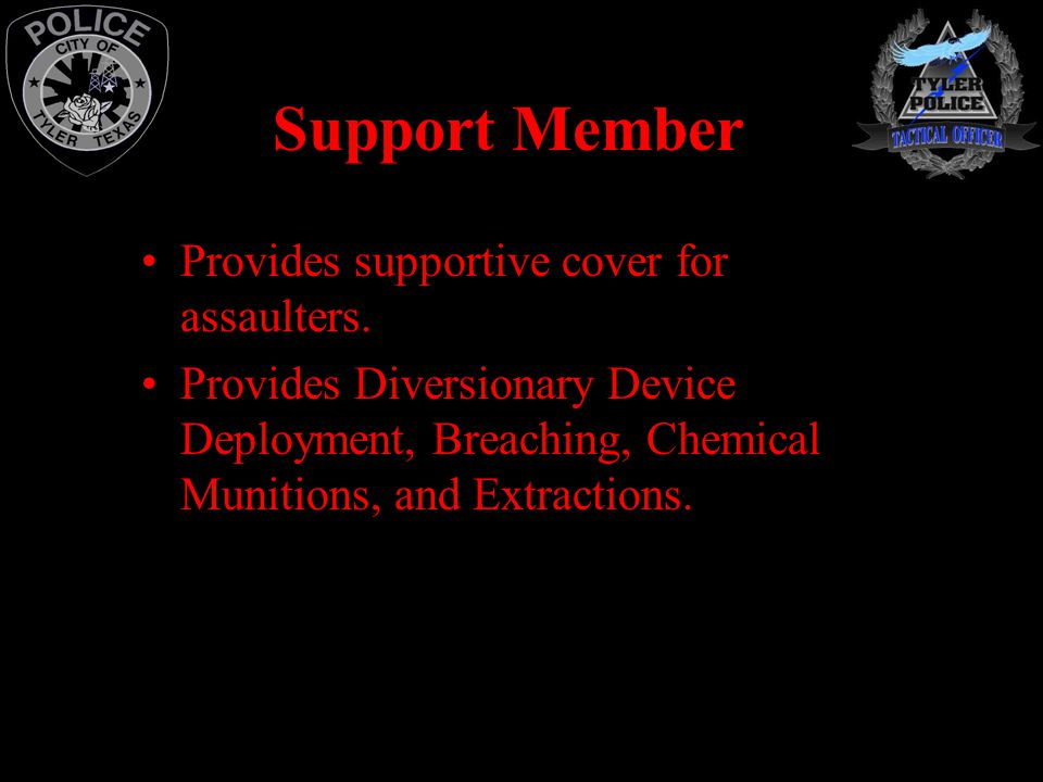 Support Member Provides supportive cover for assaulters.
