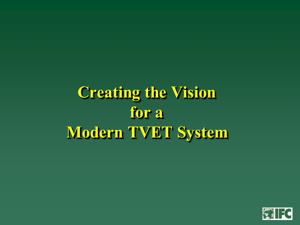 Key characteristics for a modern TVET system for China might include...
