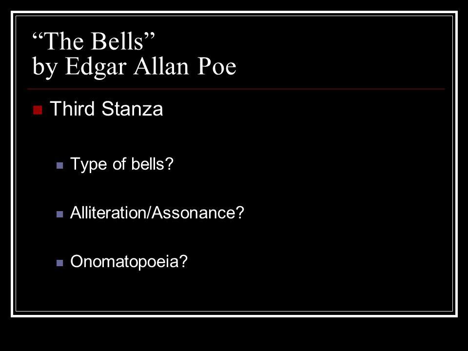 """""""The Bells"""" by Edgar Allan Poe Third Stanza Type of bells? Alliteration/Assonance? Onomatopoeia?"""